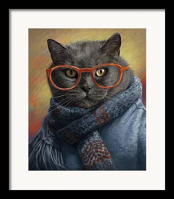 Domestic Short Hair Cat Digital Art Framed Prints