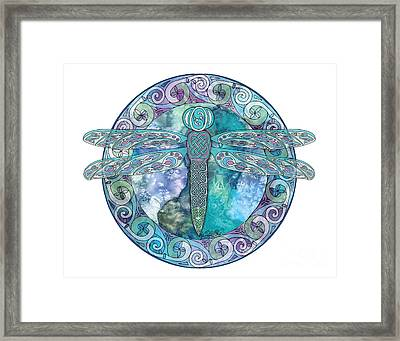 Framed Print featuring the mixed media Cool Celtic Dragonfly by Kristen Fox