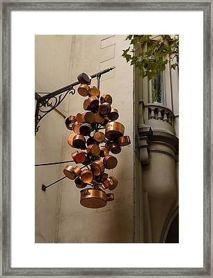Cool Copper Pots - Parisian Restaurant Left Bank La Rive Gauche Framed Print by Georgia Mizuleva