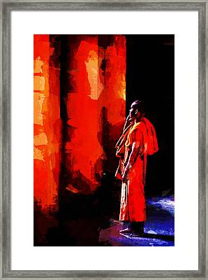 Framed Print featuring the digital art Cool Orange Monk by Cameron Wood