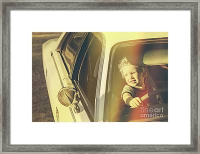 Cool Retro Kid Riding In Old Fifties Classic Car Framed Print