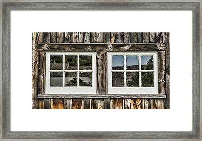 Coolidge Barn Windows Framed Print by Stephen Stookey