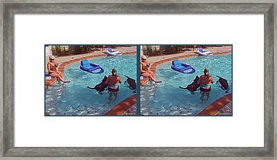 Cooling Off - Gently Cross Your Eyes And Focus On The Middle Image Framed Print