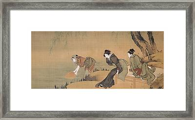 Cooling Off On A Summer Evening Framed Print by Katsushika Hokusai