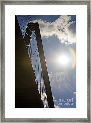 Cooper River Bridge Lens Flair Framed Print