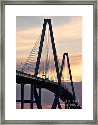 Cooper River Bridge Framed Print by Melanie Snipes