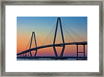 Cooper River Bridge Sunset Framed Print by Suzanne Stout
