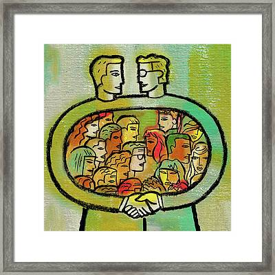 Cooperation And Support Framed Print by Leon Zernitsky