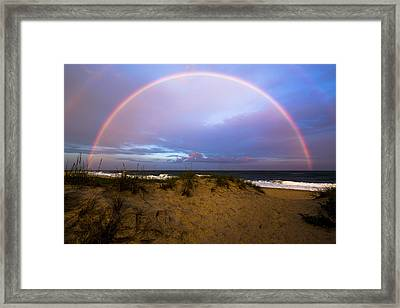 Coopers Beach Full Rainbow Framed Print