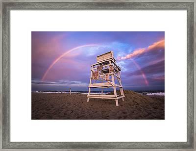 Coopers Beach Rainbow Framed Print