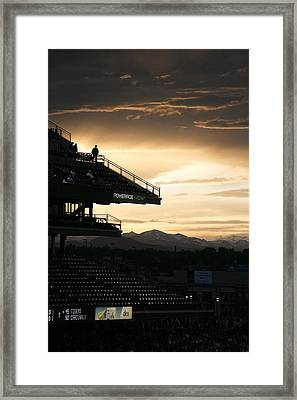 Coors Field At Sunset Framed Print by Marilyn Hunt