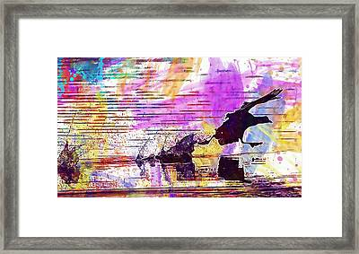 Framed Print featuring the digital art Coot Bird Water Bird  by PixBreak Art