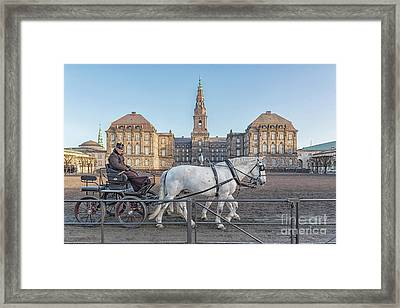 Framed Print featuring the photograph Copenhagen Christianborg Palace Horse And Cart by Antony McAulay