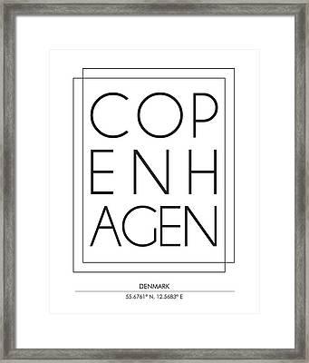 Copenhagen City Print With Coordinates Framed Print