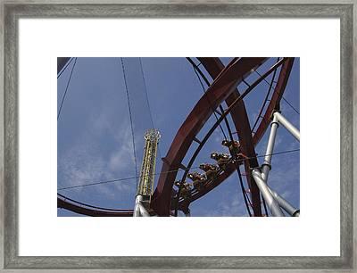 Copenhagen, Denmark, Rollercoaster Ride Framed Print by Keenpress