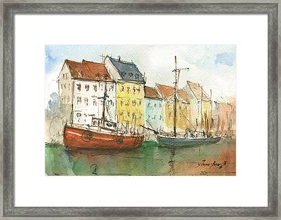 Copenhagen Harbour With Boats Framed Print by Juan Bosco