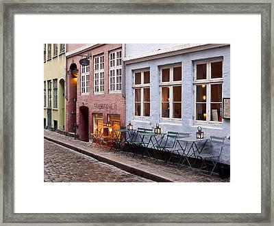 Copenhagen Patio Framed Print by Rae Tucker