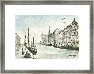 Copenhagen With Snow Framed Print