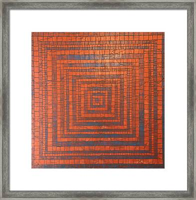 Copper And Cerulean Crack Framed Print by Tracy Fetter