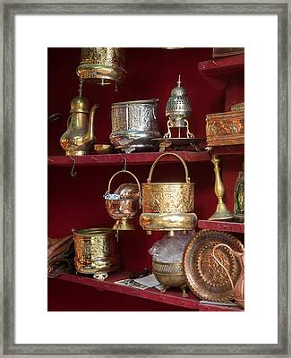 Copper And Silver With Brass Items Framed Print by Panoramic Images
