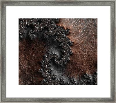 Copper And Steel Embossed Spiral Abstract Framed Print by Marianna Mills