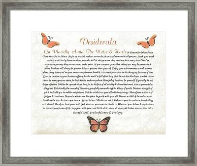 Copper Butterfly Desiderata Framed Print by Desiderata Gallery