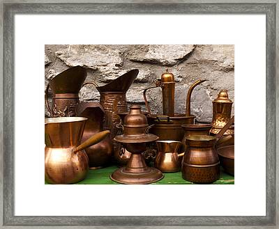 Copper Cookware Framed Print by Rae Tucker