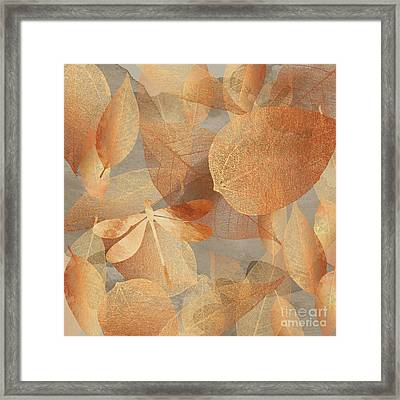 Copper Forest, Leaves And Dragonfly, Nature And Garden Art Framed Print by Tina Lavoie
