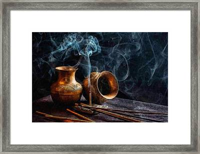 Copper Pots With Smoking Incense L B  Framed Print