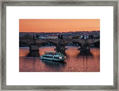 Copper Sunset Over Vltava River. Prague Framed Print