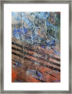 Copper To Blue Abstract Framed Print by Lynda McDonald