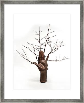 Copper Tree Hand A Sculpture By Adam Long Framed Print by Adam Long
