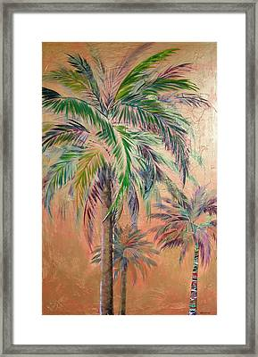 Copper Trio Of Palms Framed Print