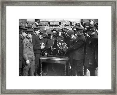 Cops Learn Motorcycle Engines Framed Print by Underwood Archives