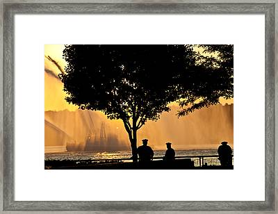 Cops Watch A Fireboat On The Hudson River Framed Print by Chris Lord