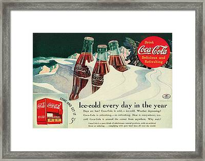 Copy Of A 1925 Coca Cola Ad Framed Print by Walter Colvin