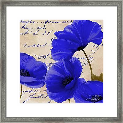 Coquelicots Bleue Framed Print by Mindy Sommers