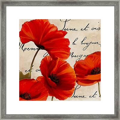 Coquelicots Rouge I Framed Print by Mindy Sommers