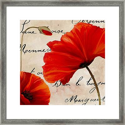 Coquelicots Rouge II Framed Print by Mindy Sommers