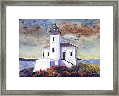Framed Print featuring the painting Coquille Lighthouse Watercolor by Chriss Pagani