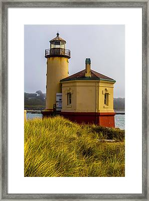 Coquille River Lighthouse And Dune Grass Framed Print