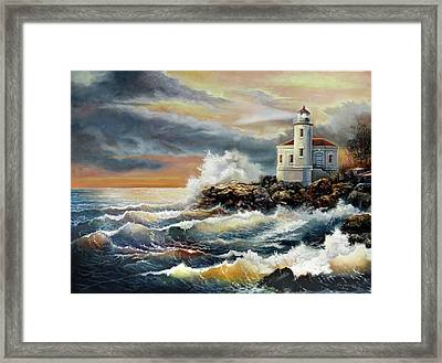 Coquille River Lighthouse At Hightide Framed Print