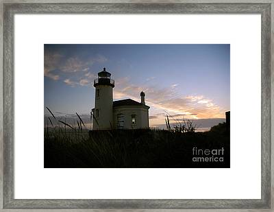 Coquille River Lighthouse At Sunset Framed Print