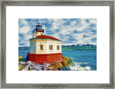 Framed Print featuring the painting Coquille River Lighthouse by Jeff Kolker