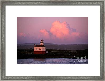 Coquille River Lighthouse Sunset Framed Print