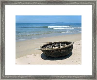 Coracle On Danang Beach Framed Print by Steven Scott