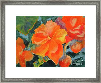 Framed Print featuring the painting Coral Begonias by Kathy Braud