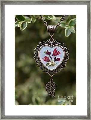 Coral Bell Pressed Flower Pendant Framed Print