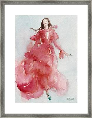 Coral Evening Dress Framed Print by Beverly Brown