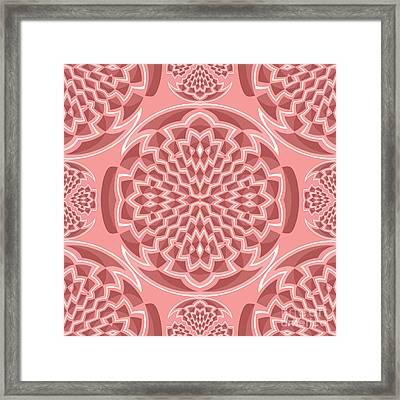 Coral Pink Geometric Framed Print
